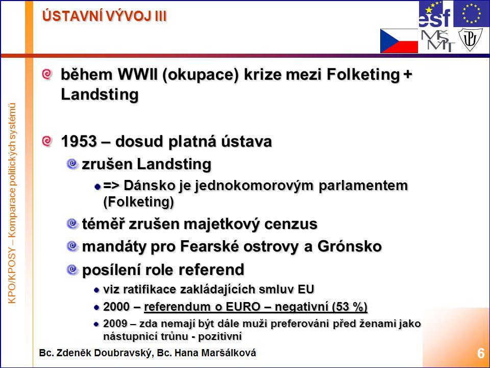 Highest academic title and first + last name of teacher, 2008 ÚSTAVNÍ VÝVOJ III během WWII (okupace) krize mezi Folketing + Landsting 1953 – dosud platná ústava zrušen Landsting => Dánsko je jednokomorovým parlamentem (Folketing) téměř zrušen majetkový cenzus mandáty pro Fearské ostrovy a Grónsko posílení role referend viz ratifikace zakládajících smluv EU 2000 – referendum o EURO – negativní (53 %) 2009 – zda nemají být dále muži preferováni před ženami jako nástupnicí trůnu - pozitivní 6 KPO/KPOSY – Komparace politických systémů