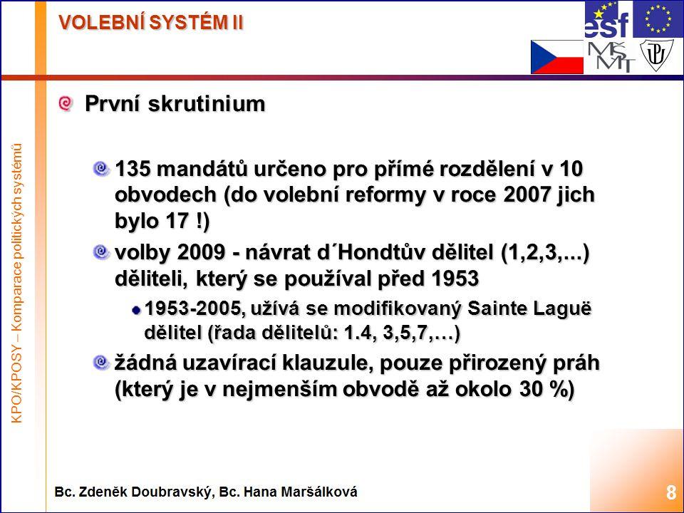 Highest academic title and first + last name of teacher, 2008 VOLEBNÍ SYSTÉM II První skrutinium 135 mandátů určeno pro přímé rozdělení v 10 obvodech (do volební reformy v roce 2007 jich bylo 17 !) volby 2009 - návrat d´Hondtův dělitel (1,2,3,...) děliteli, který se používal před 1953 1953-2005, užívá se modifikovaný Sainte Laguë dělitel (řada dělitelů: 1.4, 3,5,7,…) žádná uzavírací klauzule, pouze přirozený práh (který je v nejmenším obvodě až okolo 30 %) 8 KPO/KPOSY – Komparace politických systémů