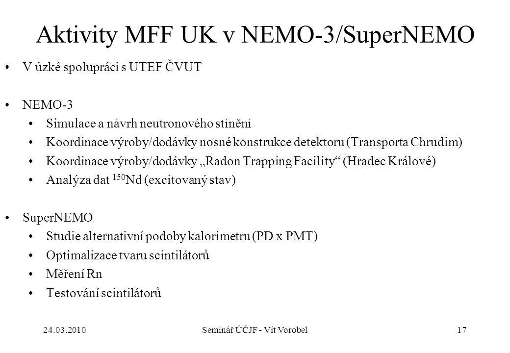 BiPo setup 24.03.201017Seminář ÚČJF - Vít Vorobel Aktivity MFF UK v NEMO-3/SuperNEMO V úzké spolupráci s UTEF ČVUT NEMO-3 Simulace a návrh neutronovéh