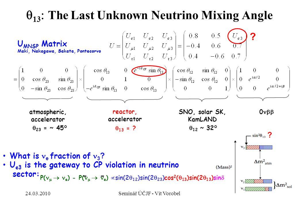 22 ?  13  The Last Unknown Neutrino Mixing Angle  23    45  U MNSP Matrix Maki, Nakagawa, Sakata, Pontecorvo What is  e fraction of 3 ? U e3