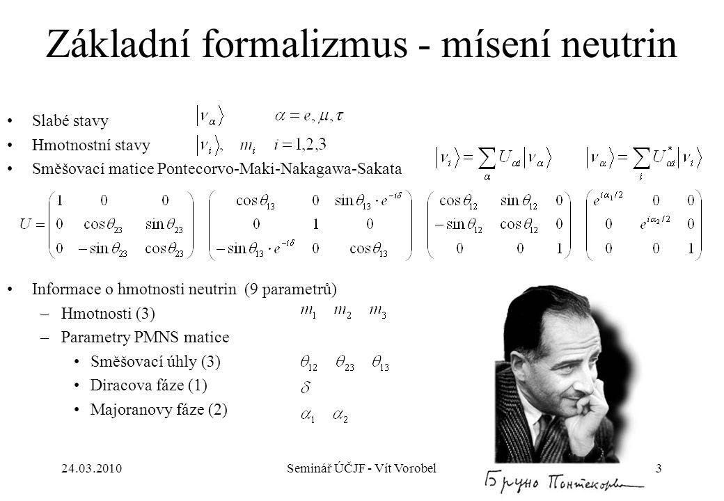 Základní formalizmus - mísení neutrin Slabé stavy Hmotnostní stavy Směšovací matice Pontecorvo-Maki-Nakagawa-Sakata Informace o hmotnosti neutrin (9 p