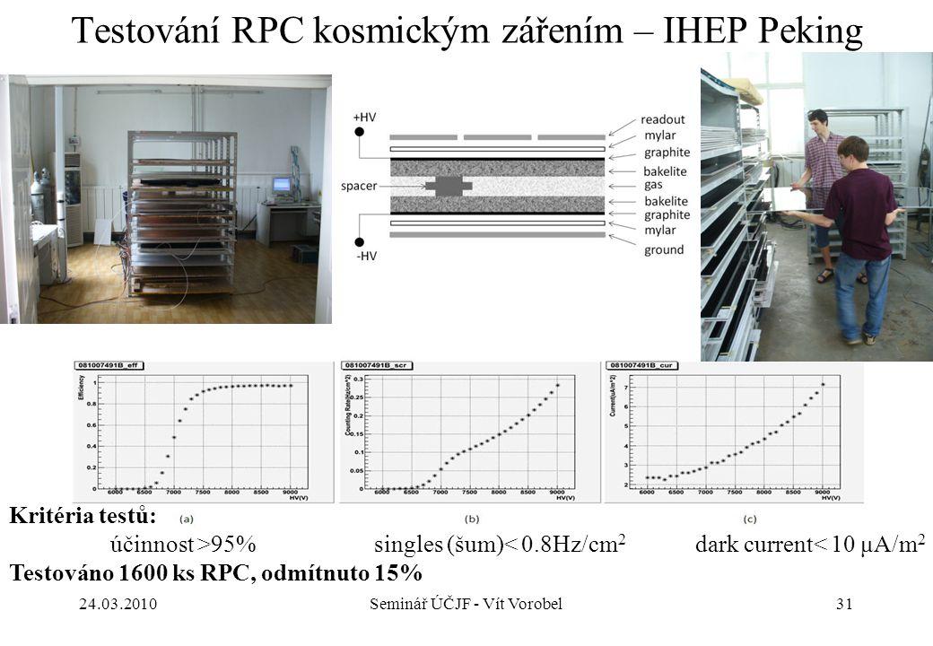 31 Testování RPC kosmickým zářením – IHEP Peking 24.03.2010Seminář ÚČJF - Vít Vorobel Kritéria testů: účinnost >95% singles (šum)< 0.8Hz/cm 2 dark cur