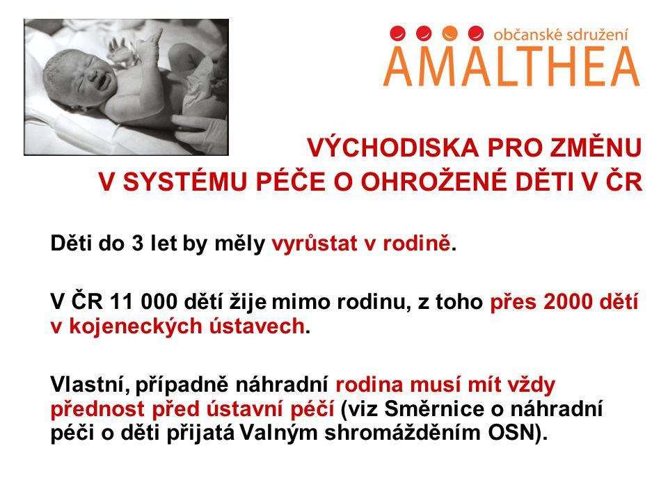 VÝCHODISKA PRO ZMĚNU V SYSTÉMU PÉČE O OHROŽENÉ DĚTI V ČR Děti do 3 let by měly vyrůstat v rodině. V ČR 11 000 dětí žije mimo rodinu, z toho přes 2000