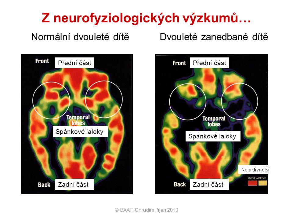 Z neurofyziologických výzkumů… Normální dvouleté dítě Dvouleté zanedbané dítě © BAAF, Chrudim, říjen 2010 Přední část Spánkové laloky Zadní část Předn