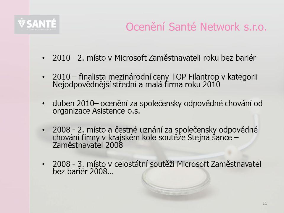 11 Ocenění Santé Network s.r.o. 2010 - 2. místo v Microsoft Zaměstnavateli roku bez bariér 2010 – finalista mezinárodní ceny TOP Filantrop v kategorii