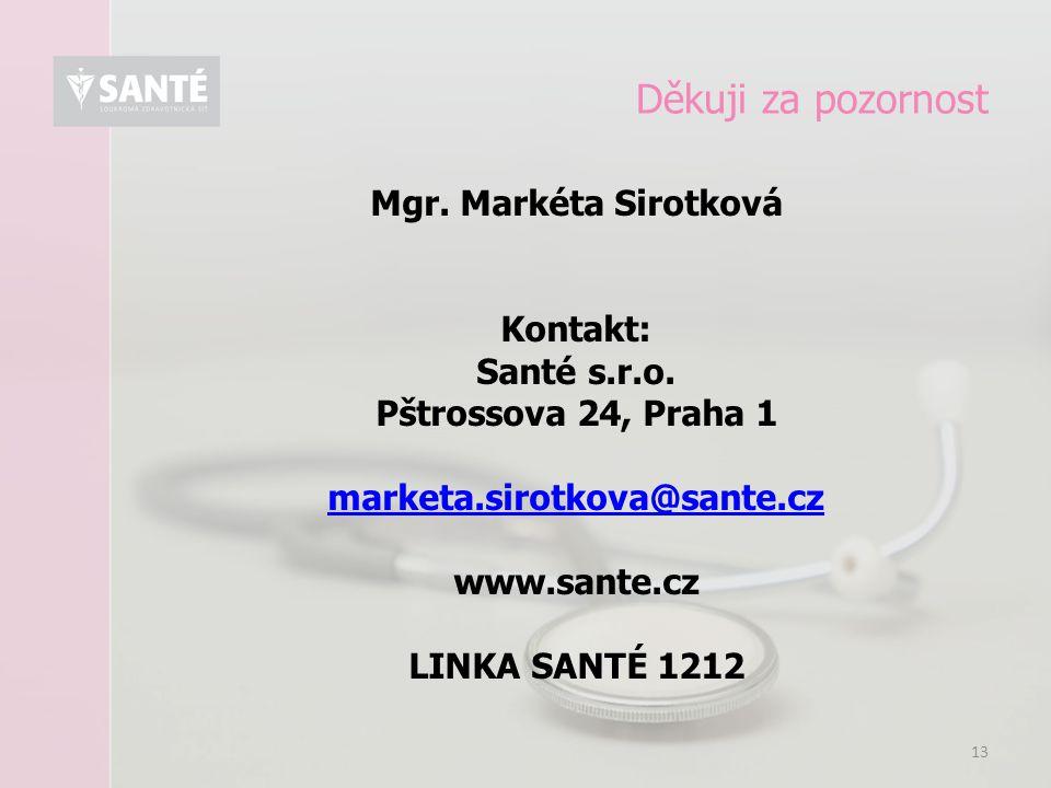 13 Děkuji za pozornost Mgr. Markéta Sirotková Kontakt: Santé s.r.o. Pštrossova 24, Praha 1 marketa.sirotkova@sante.cz www.sante.cz LINKA SANTÉ 1212