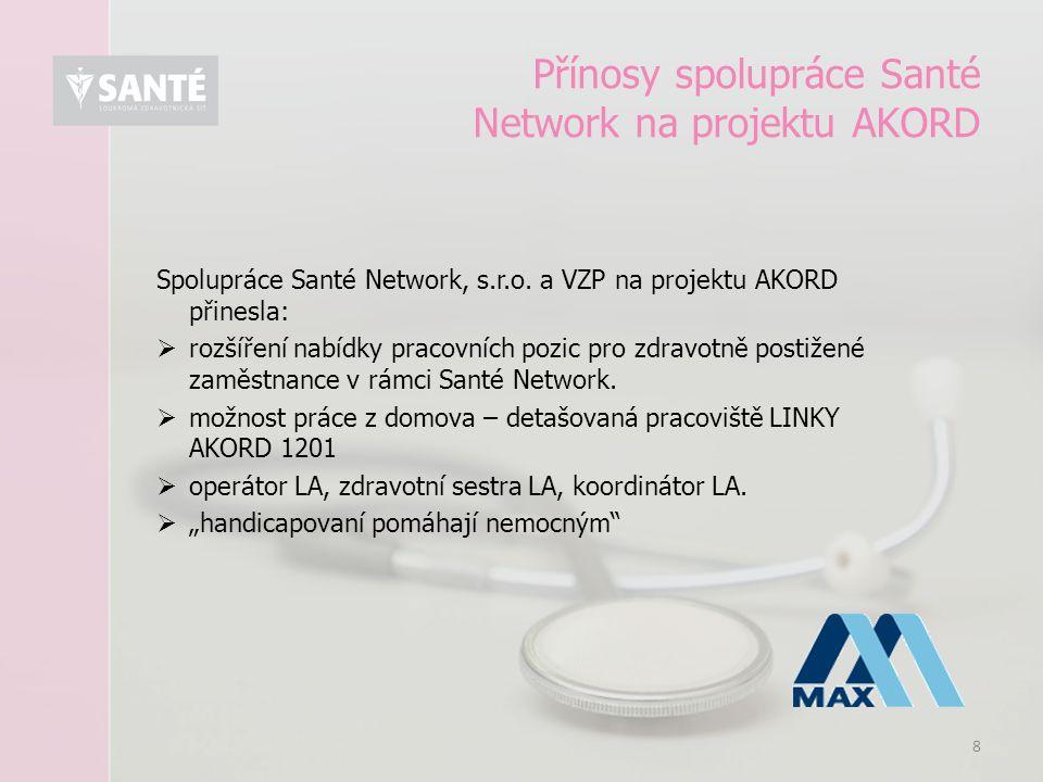 8 Přínosy spolupráce Santé Network na projektu AKORD Spolupráce Santé Network, s.r.o. a VZP na projektu AKORD přinesla:  rozšíření nabídky pracovních