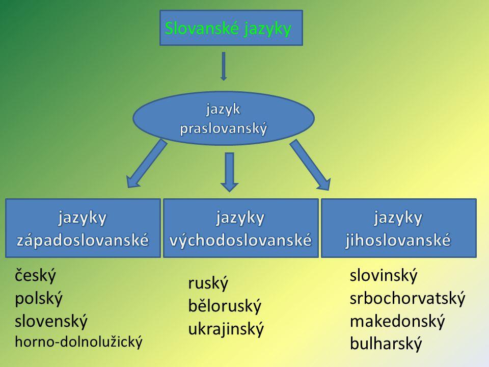 Slovanské jazyky český polský slovenský horno-dolnolužický ruský běloruský ukrajinský slovinský srbochorvatský makedonský bulharský