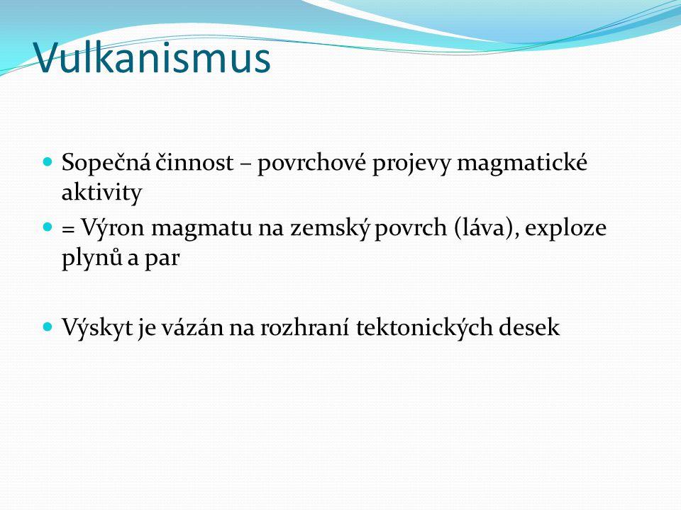 Vulkanismus Sopečná činnost – povrchové projevy magmatické aktivity = Výron magmatu na zemský povrch (láva), exploze plynů a par Výskyt je vázán na ro