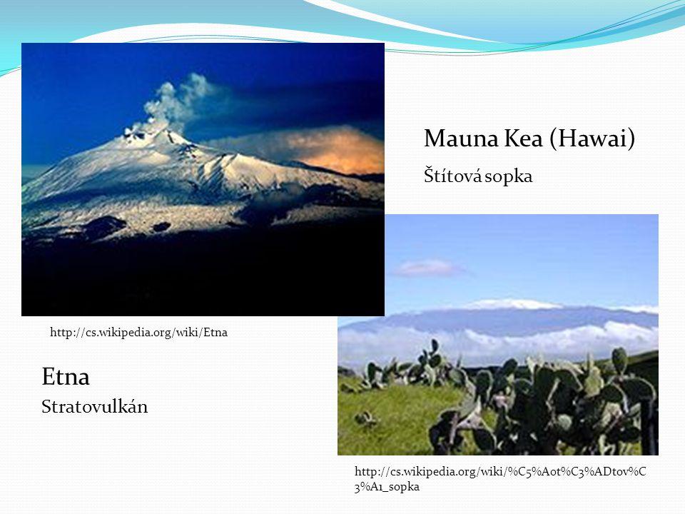 Etna Stratovulkán Mauna Kea (Hawai) Štítová sopka http://cs.wikipedia.org/wiki/Etna http://cs.wikipedia.org/wiki/%C5%A0t%C3%ADtov%C 3%A1_sopka