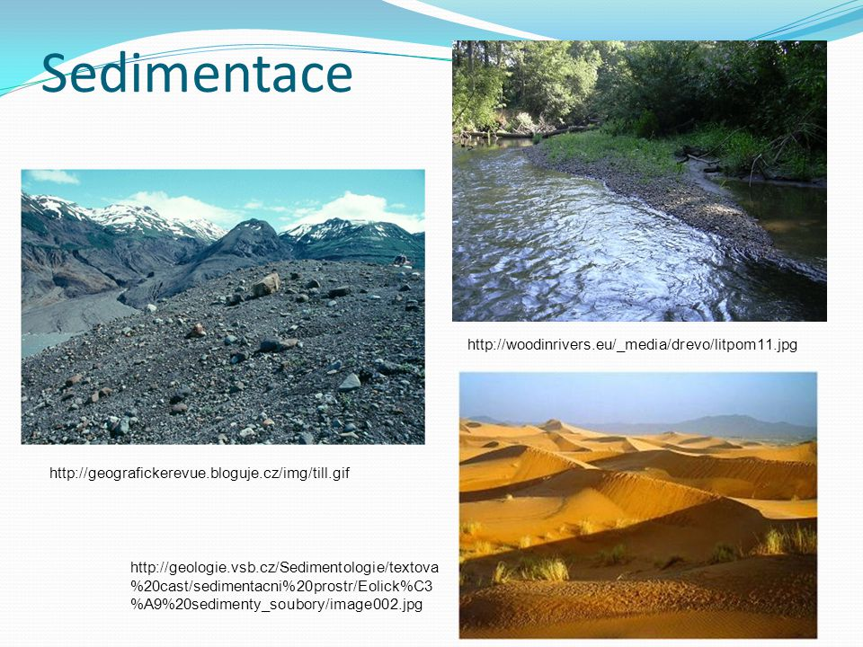 Sedimentace http://geografickerevue.bloguje.cz/img/till.gif http://woodinrivers.eu/_media/drevo/litpom11.jpg http://geologie.vsb.cz/Sedimentologie/tex