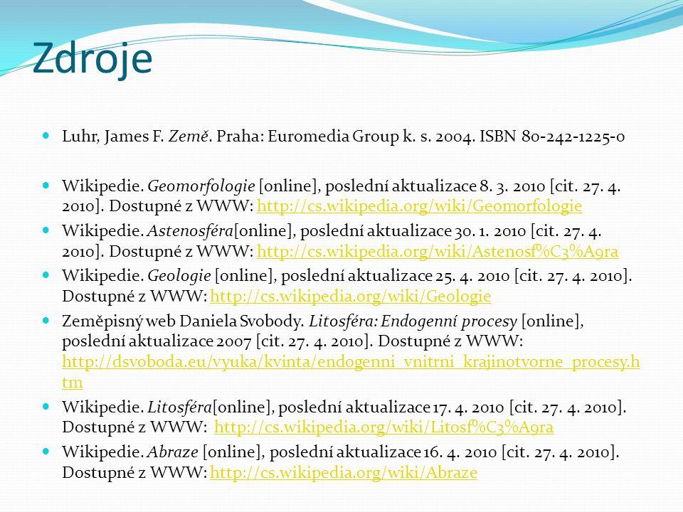 Zdroje Luhr, James F. Země. Praha: Euromedia Group k. s. 2004. ISBN 80-242-1225-0 Wikipedie. Geomorfologie [online], poslední aktualizace 8. 3. 2010 [