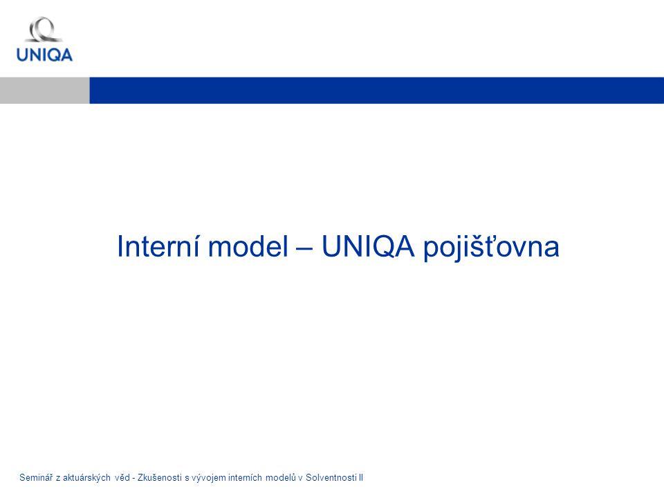 Interní model – UNIQA pojišťovna Seminář z aktuárských věd - Zkušenosti s vývojem interních modelů v Solventnosti II