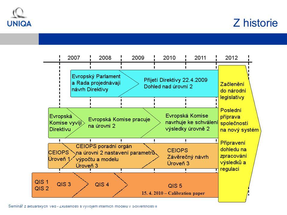 Z historie Seminář z aktuárských věd - Zkušenosti s vývojem interních modelů v Solventnosti II 15. 4. 2010 – Calibration paper
