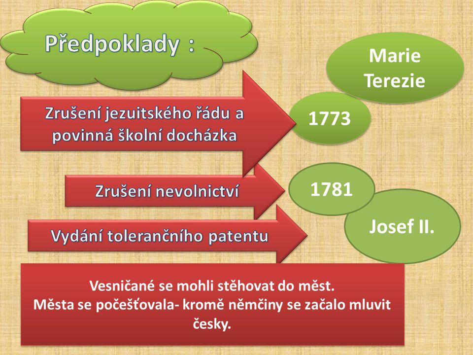 Josef II. 1781 Vesničané se mohli stěhovat do měst. Města se počešťovala- kromě němčiny se začalo mluvit česky. Vesničané se mohli stěhovat do měst. M