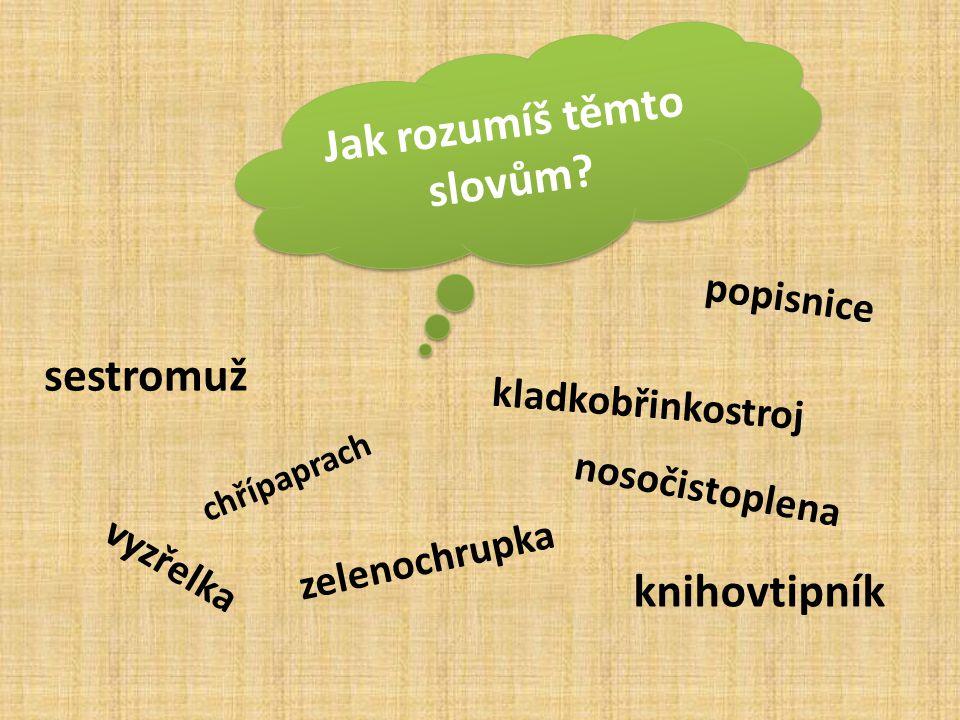 salát = zelenochrupka Řešení: kapesník = nosočistoplena student = knihovtipník švagr = sestromuž brýle = vyzřelka klavír = kladkobřinkostroj tabák= chřípaprach papír= popisnice