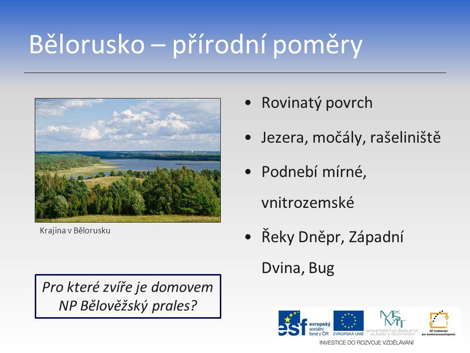 Bělorusko – přírodní poměry Rovinatý povrch Jezera, močály, rašeliniště Podnebí mírné, vnitrozemské Řeky Dněpr, Západní Dvina, Bug Pro které zvíře je