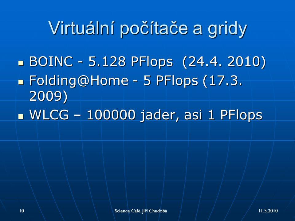 Virtuální počítače a gridy BOINC - 5.128 PFlops (24.4. 2010) BOINC - 5.128 PFlops (24.4. 2010) Folding@Home - 5 PFlops (17.3. 2009) Folding@Home - 5 P