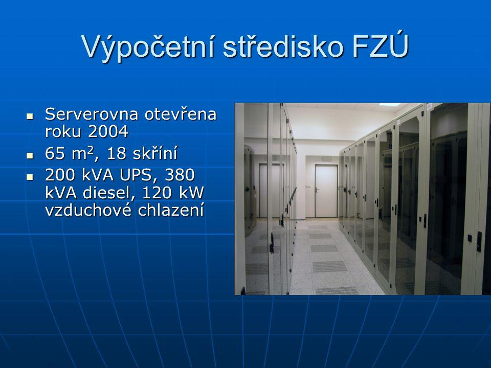 Výpočetní středisko FZÚ Serverovna otevřena roku 2004 Serverovna otevřena roku 2004 65 m 2, 18 skříní 65 m 2, 18 skříní 200 kVA UPS, 380 kVA diesel, 120 kW vzduchové chlazení 200 kVA UPS, 380 kVA diesel, 120 kW vzduchové chlazení