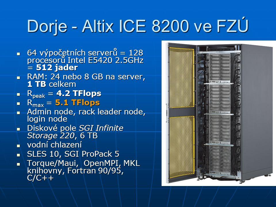 Dorje - Altix ICE 8200 ve FZÚ 64 výpočetních serverů = 128 procesorů Intel E5420 2.5GHz = 512 jader 64 výpočetních serverů = 128 procesorů Intel E5420 2.5GHz = 512 jader RAM: 24 nebo 8 GB na server, 1 TB celkem RAM: 24 nebo 8 GB na server, 1 TB celkem R peak = 4.2 TFlops R peak = 4.2 TFlops R max = 5.1 TFlops R max = 5.1 TFlops Admin node, rack leader node, login node Admin node, rack leader node, login node Diskové pole SGI Infinite Storage 220, 6 TB Diskové pole SGI Infinite Storage 220, 6 TB vodní chlazení vodní chlazení SLES 10, SGI ProPack 5 SLES 10, SGI ProPack 5 Torque/Maui, OpenMPI, MKL knihovny, Fortran 90/95, C/C++ Torque/Maui, OpenMPI, MKL knihovny, Fortran 90/95, C/C++