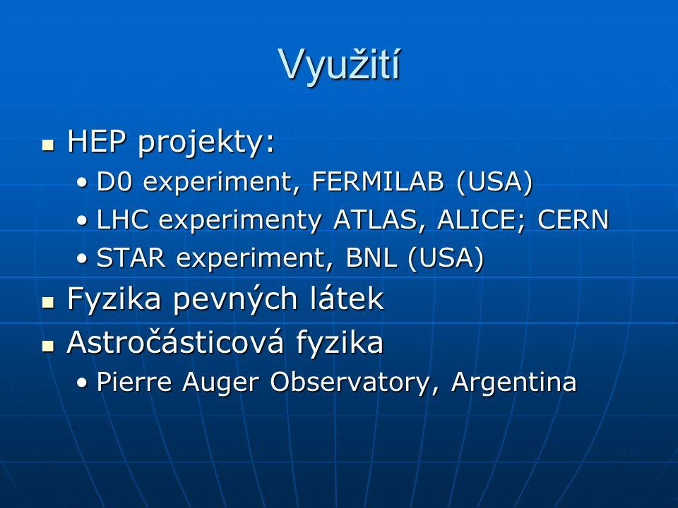 Využití HEP projekty: HEP projekty: D0 experiment, FERMILAB (USA)D0 experiment, FERMILAB (USA) LHC experimenty ATLAS, ALICE; CERNLHC experimenty ATLAS, ALICE; CERN STAR experiment, BNL (USA)STAR experiment, BNL (USA) Fyzika pevných látek Fyzika pevných látek Astročásticová fyzika Astročásticová fyzika Pierre Auger Observatory, ArgentinaPierre Auger Observatory, Argentina