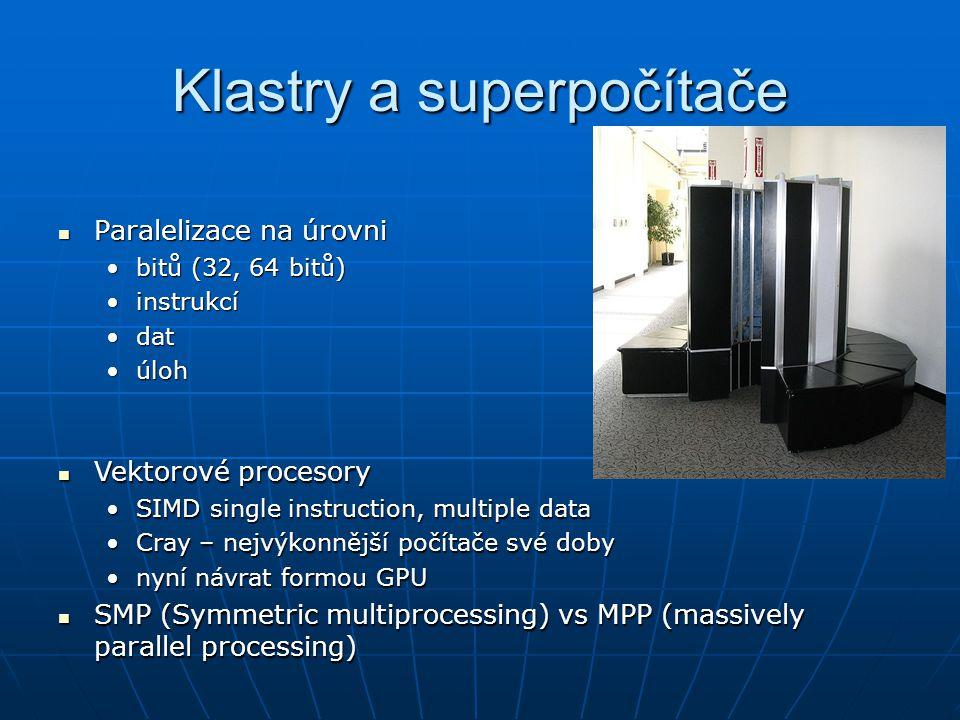 Klastry a superpočítače Paralelizace na úrovni Paralelizace na úrovni bitů (32, 64 bitů)bitů (32, 64 bitů) instrukcíinstrukcí datdat úlohúloh Vektorov