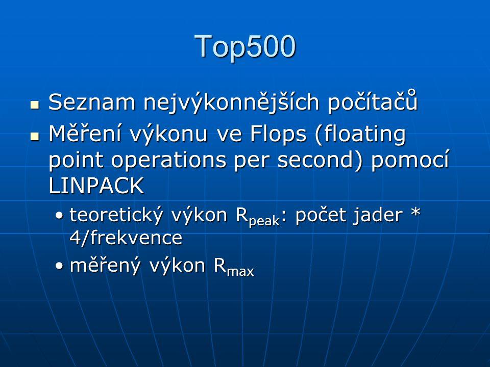 Top500 Seznam nejvýkonnějších počítačů Seznam nejvýkonnějších počítačů Měření výkonu ve Flops (floating point operations per second) pomocí LINPACK Měření výkonu ve Flops (floating point operations per second) pomocí LINPACK teoretický výkon R peak : počet jader * 4/frekvenceteoretický výkon R peak : počet jader * 4/frekvence měřený výkon R maxměřený výkon R max