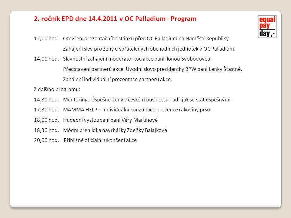 . 2. ročník EPD dne 14.4.2011 v OC Palladium - Program 12,00 hod.Otevření prezentačního stánku před OC Palladium na Náměstí Republiky. Zahájení slev p