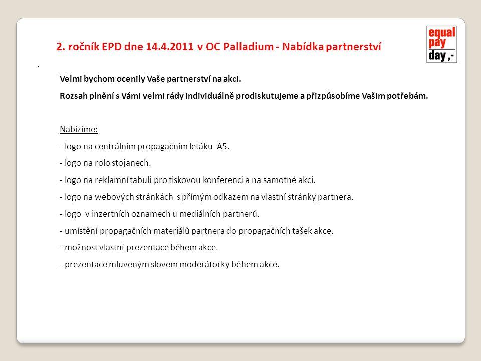 . 2. ročník EPD dne 14.4.2011 v OC Palladium - Nabídka partnerství Velmi bychom ocenily Vaše partnerství na akci. Rozsah plnění s Vámi velmi rády indi