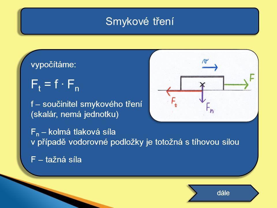 vypočítáme: F t = f. F n f – součinitel smykového tření (skalár, nemá jednotku) F n – kolmá tlaková síla v případě vodorovné podložky je totožná s tíh