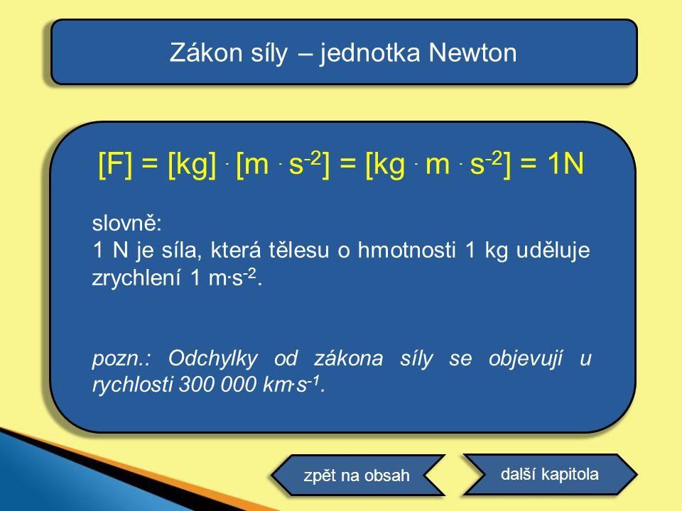 [F] = [kg]. [m. s -2 ] = [kg. m. s -2 ] = 1N slovně: 1 N je síla, která tělesu o hmotnosti 1 kg uděluje zrychlení 1 m. s -2. pozn.: Odchylky od zákona