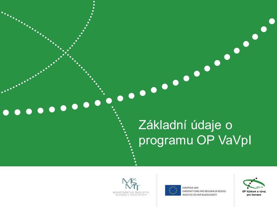 Operační program Výzkum a vývoj pro inovace  čtvrtý největší český operační program  z fondů EU vyčleněno 2,4 mld.