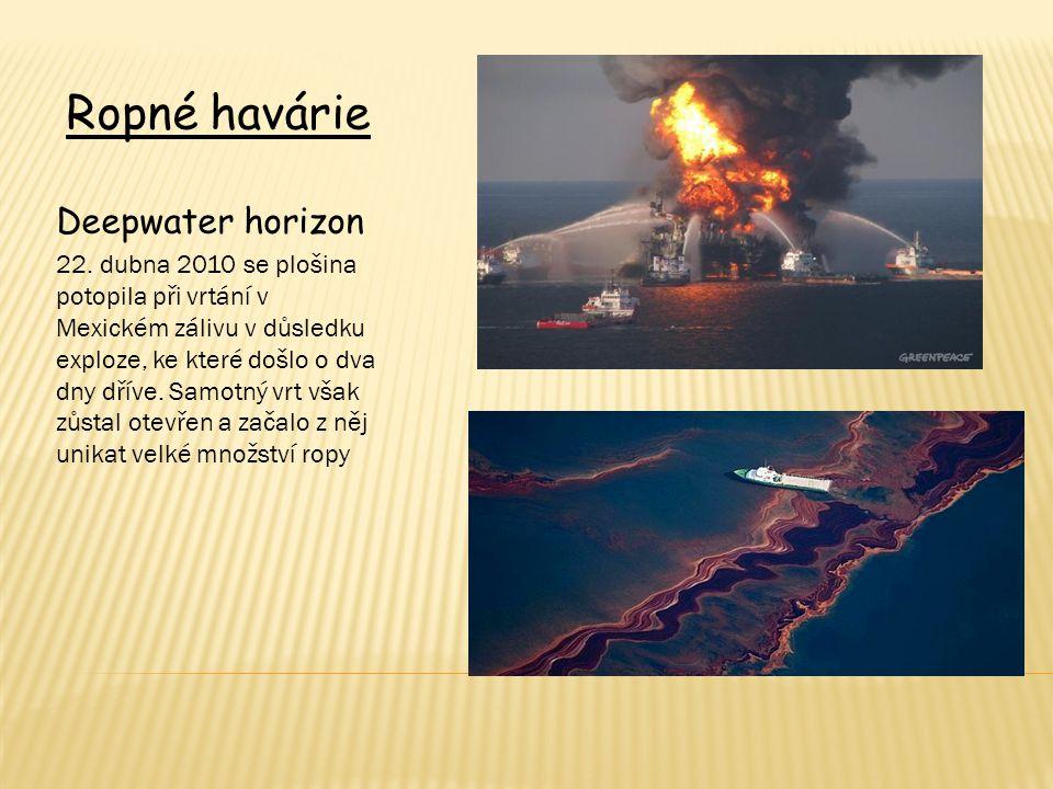 Ropné havárie Deepwater horizon 22. dubna 2010 se plošina potopila při vrtání v Mexickém zálivu v důsledku exploze, ke které došlo o dva dny dříve. Sa