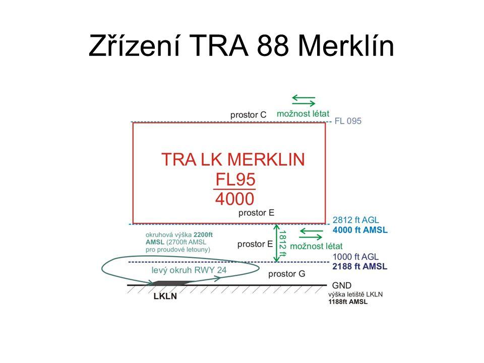 TRA 88 Merklín LK TRA 88 MERKLÍN Horizontální hranice: 1 494036.06 N 132246.76 E 2 493504.86 N 133211.18 E 3 493114.09 N 133008.44 E 4 493344.50 N 131155.56 E 5 493915.07 N 131220.04 E 1 494036.06 N 132246.76 E Vertikální hranice:4000ft AMSL-FL95 Poznámky: Činnost/Activity: Lety proudových letadel/ Flights of jet aircraft Doba/ Time: MON − SUN (SR − SS) Plánovaná aktivace uvedená v AUP/ Planned activation specified in AUP.