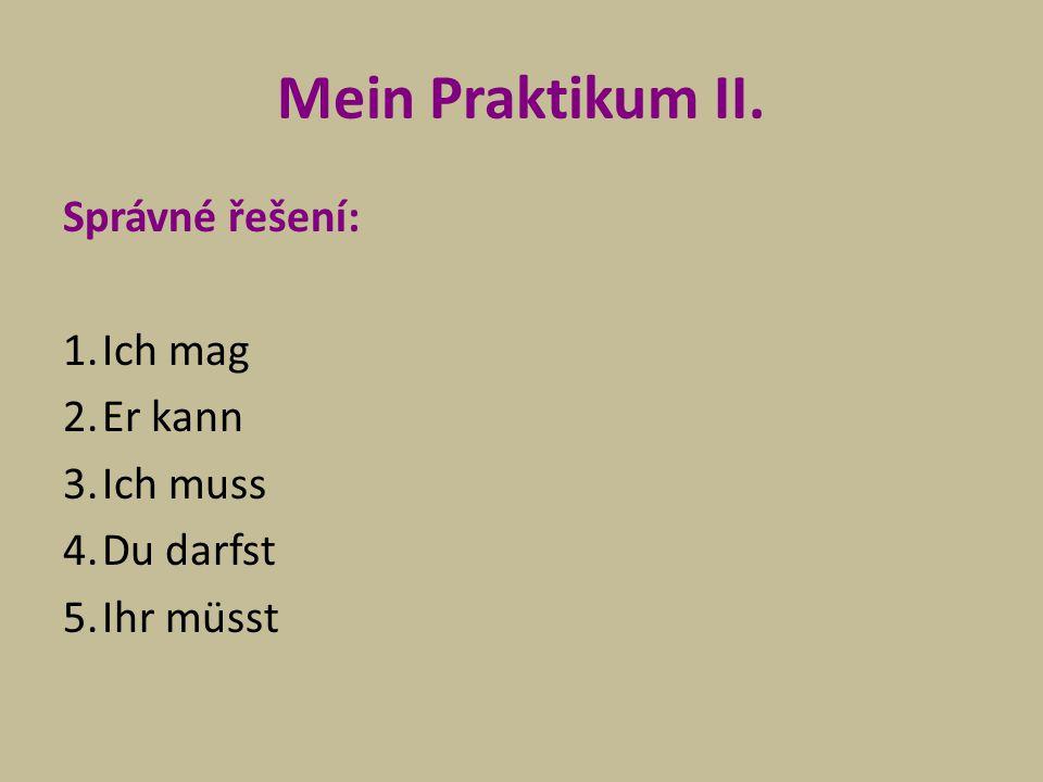 Mein Praktikum II.Úkol: Přelož uvedená slovesa do češtiny.