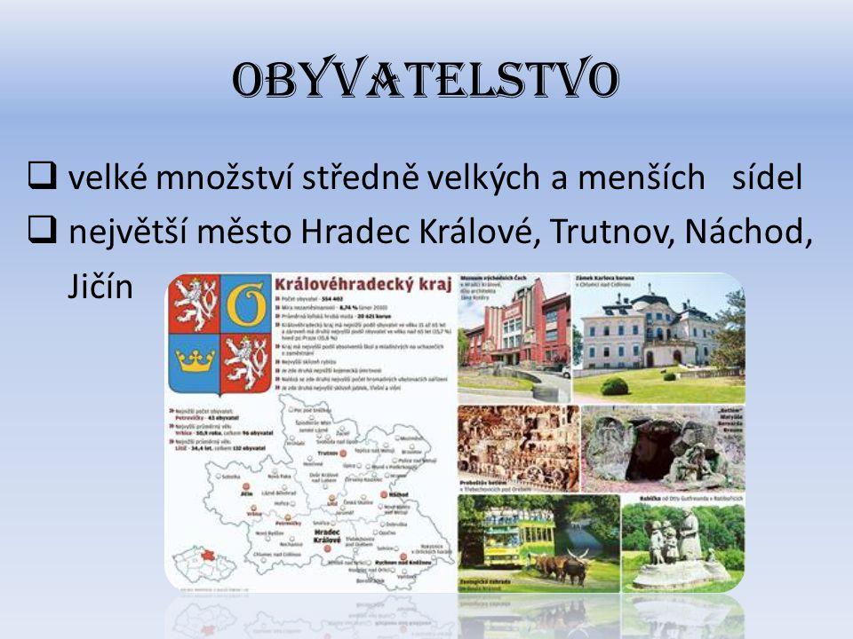 Obyvatelstvo  velké množství středně velkých a menších sídel  největší město Hradec Králové, Trutnov, Náchod, Jičín