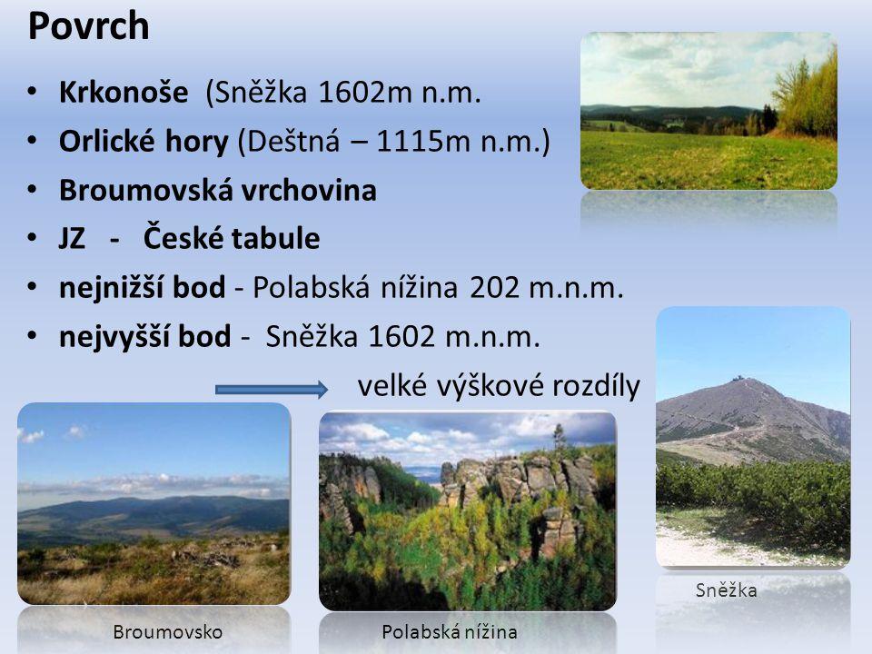 Povrch Krkonoše (Sněžka 1602m n.m.
