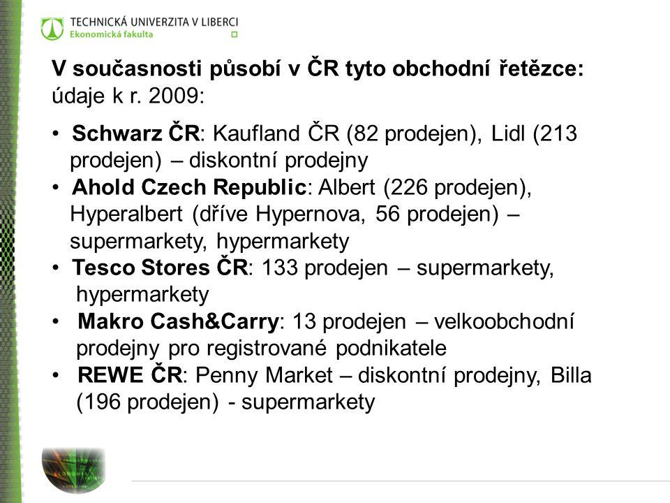 V současnosti působí v ČR tyto obchodní řetězce: údaje k r. 2009: Schwarz ČR: Kaufland ČR (82 prodejen), Lidl (213 prodejen) – diskontní prodejny Ahol