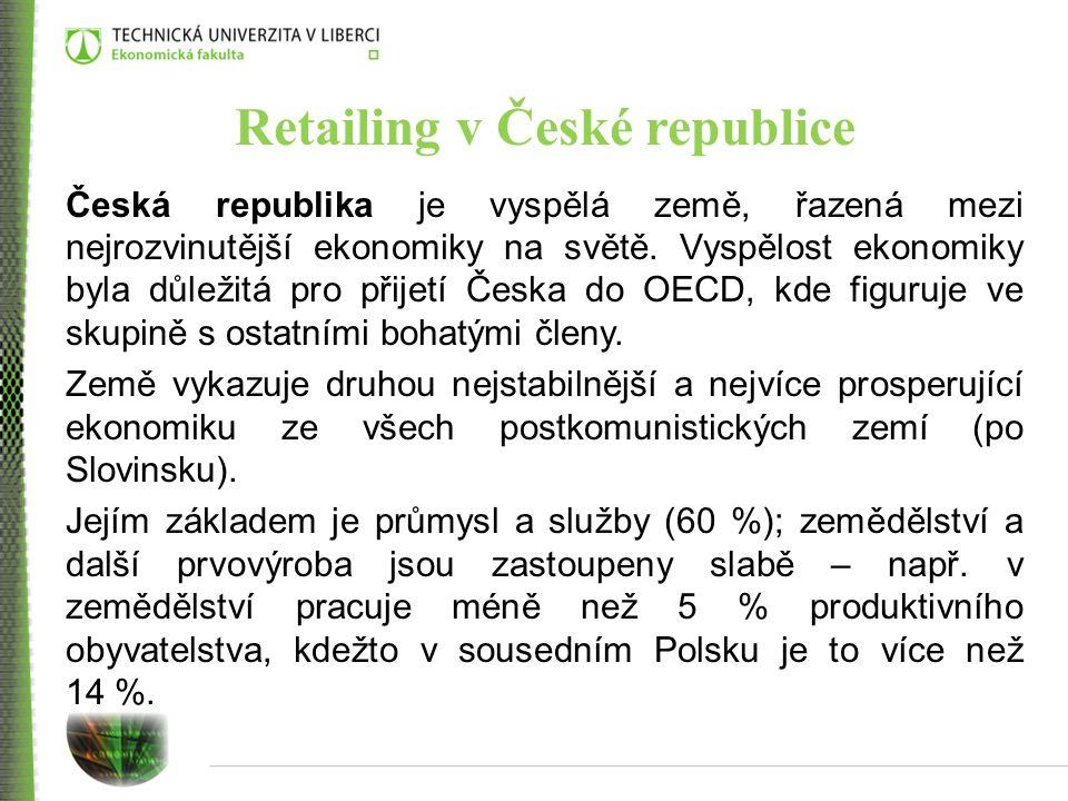 Retailing v České republice Česká republika je vyspělá země, řazená mezi nejrozvinutější ekonomiky na světě. Vyspělost ekonomiky byla důležitá pro při