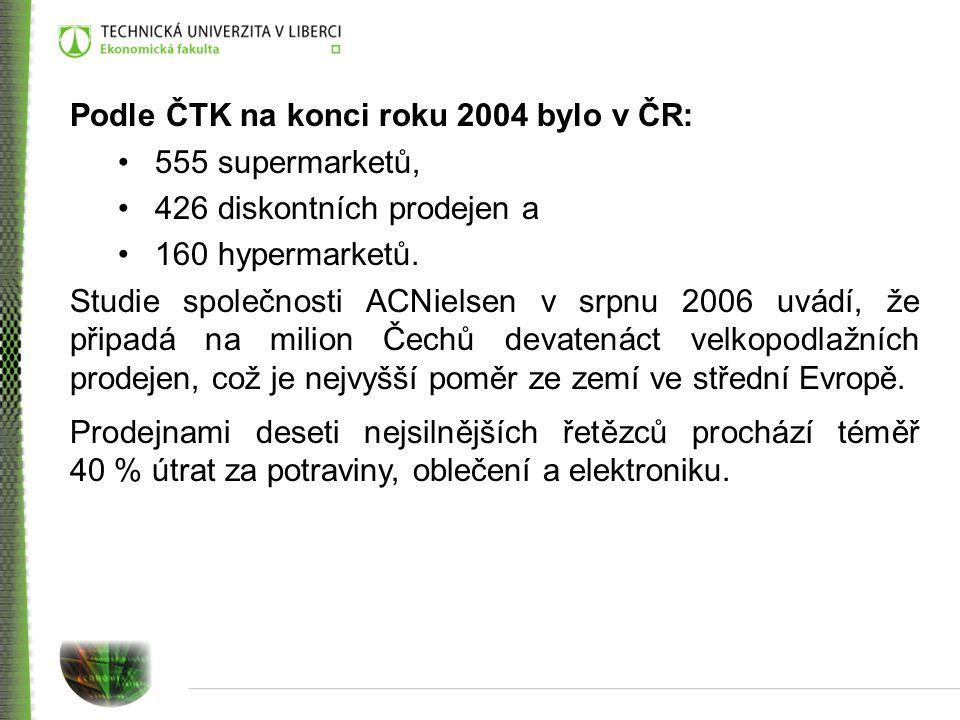Podle ČTK na konci roku 2004 bylo v ČR: 555 supermarketů, 426 diskontních prodejen a 160 hypermarketů. Studie společnosti ACNielsen v srpnu 2006 uvádí