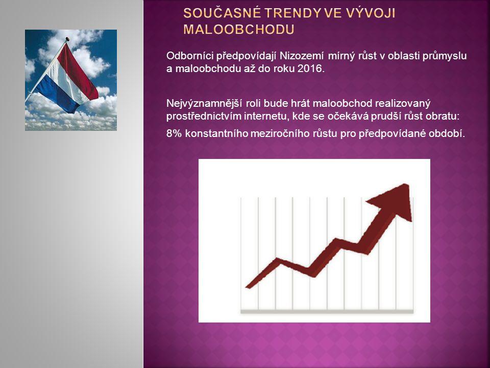 Odborníci předpovídají Nizozemí mírný růst v oblasti průmyslu a maloobchodu až do roku 2016. Nejvýznamnější roli bude hrát maloobchod realizovaný pros