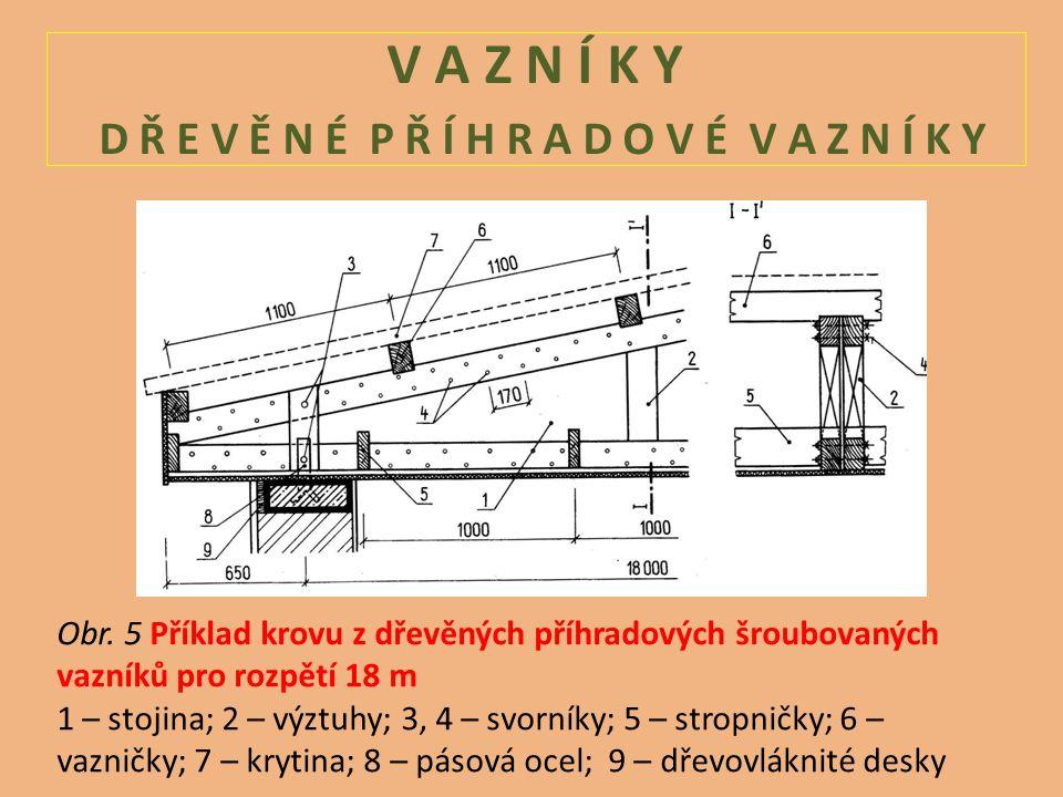 V A Z N Í K Y D Ř E V Ě N É P Ř Í H R A D O V É V A Z N Í K Y Obr. 5 Příklad krovu z dřevěných příhradových šroubovaných vazníků pro rozpětí 18 m 1 –