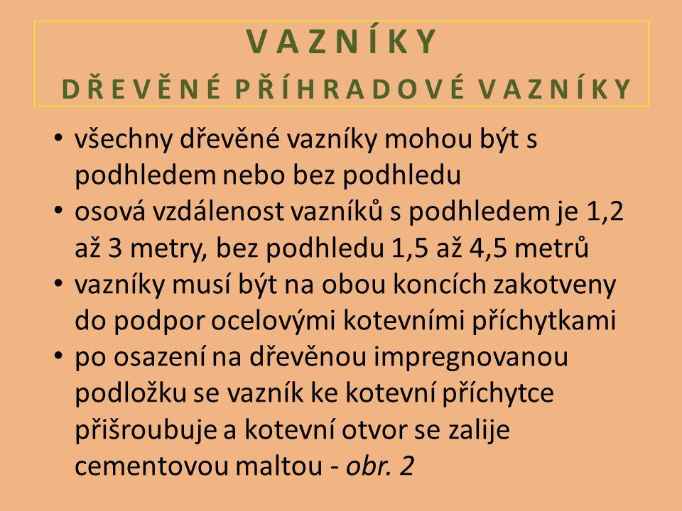 V A Z N Í K Y D Ř E V Ě N É P Ř Í H R A D O V É V A Z N Í K Y všechny dřevěné vazníky mohou být s podhledem nebo bez podhledu osová vzdálenost vazníků s podhledem je 1,2 až 3 metry, bez podhledu 1,5 až 4,5 metrů vazníky musí být na obou koncích zakotveny do podpor ocelovými kotevními příchytkami po osazení na dřevěnou impregnovanou podložku se vazník ke kotevní příchytce přišroubuje a kotevní otvor se zalije cementovou maltou - obr.