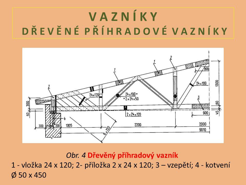 V A Z N Í K Y D Ř E V Ě N É P Ř Í H R A D O V É V A Z N Í K Y Obr. 4 Dřevěný příhradový vazník 1 - vložka 24 x 120; 2- příložka 2 x 24 x 120; 3 – vzep