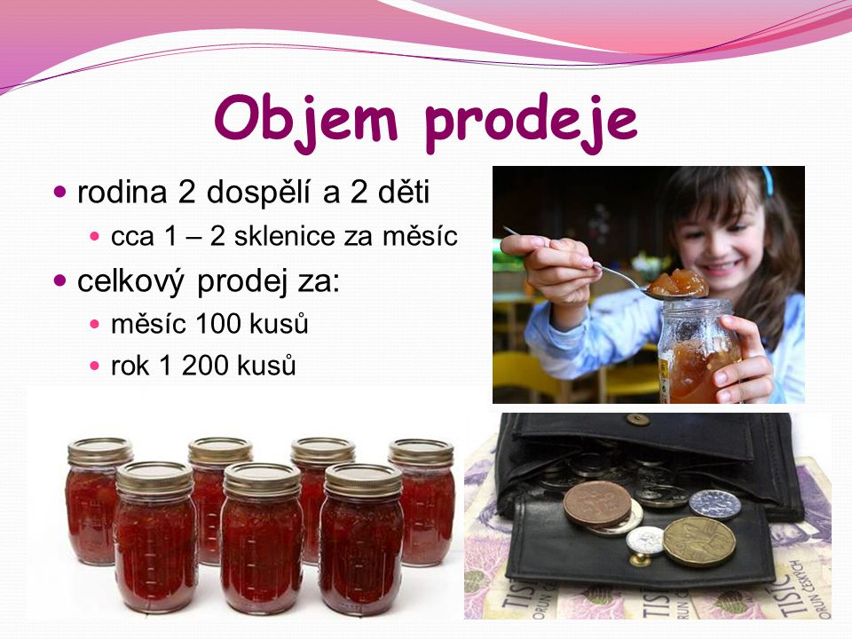 Objem prodeje rodina 2 dospělí a 2 děti cca 1 – 2 sklenice za měsíc celkový prodej za: měsíc 100 kusů rok 1 200 kusů
