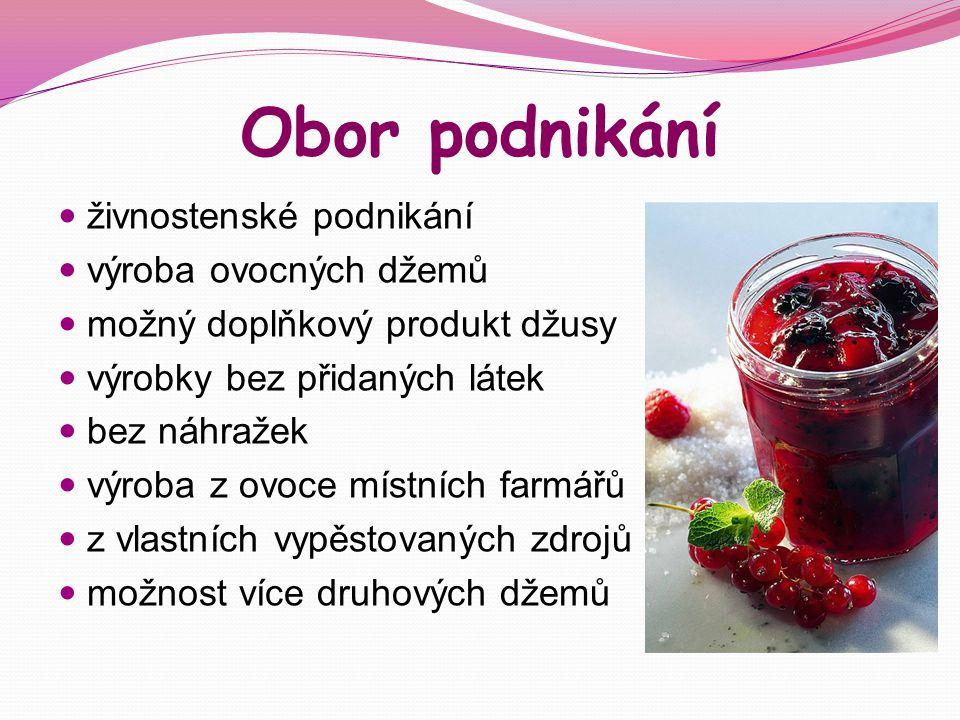 Obor podnikání živnostenské podnikání výroba ovocných džemů možný doplňkový produkt džusy výrobky bez přidaných látek bez náhražek výroba z ovoce míst
