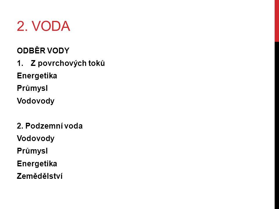 2. VODA ODBĚR VODY 1.Z povrchových toků Energetika Průmysl Vodovody 2.