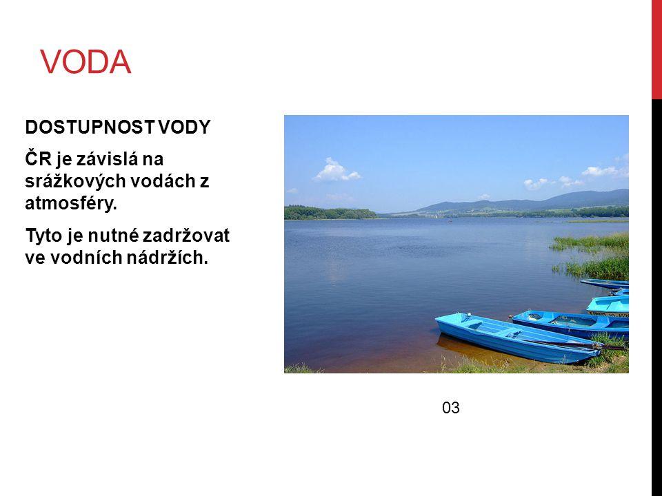 VODA DOSTUPNOST VODY ČR je závislá na srážkových vodách z atmosféry. Tyto je nutné zadržovat ve vodních nádržích. 03