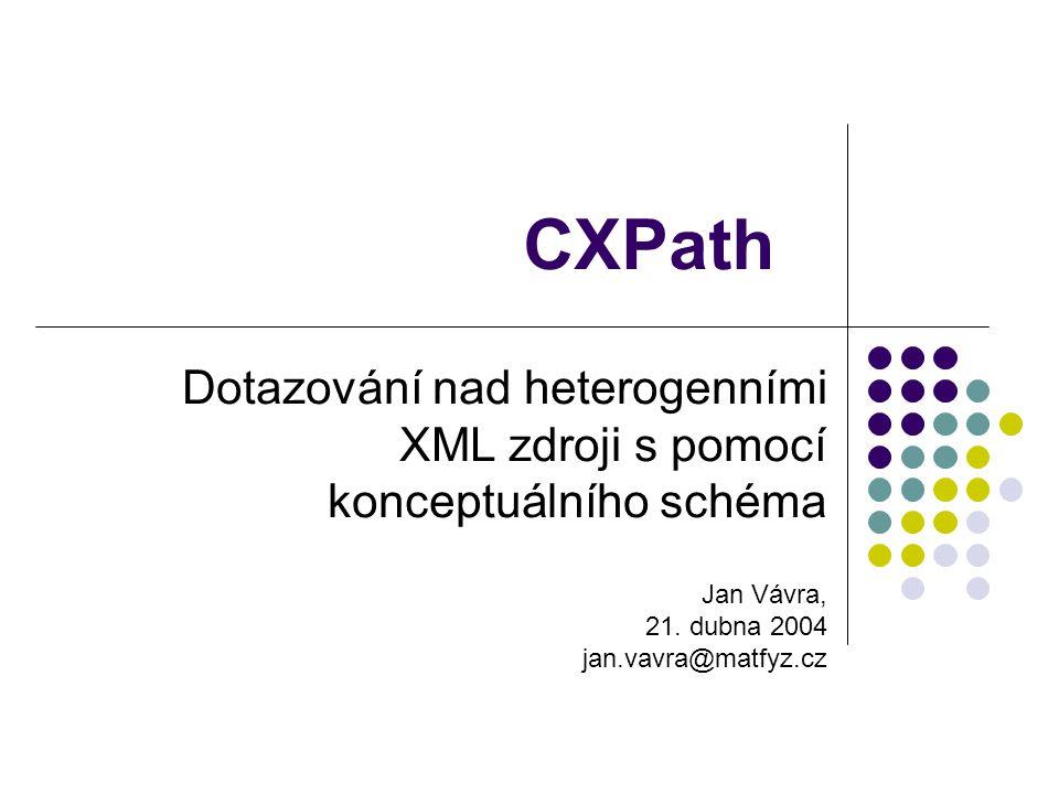CXPath Dotazování nad heterogenními XML zdroji s pomocí konceptuálního schéma Jan Vávra, 21. dubna 2004 jan.vavra@matfyz.cz