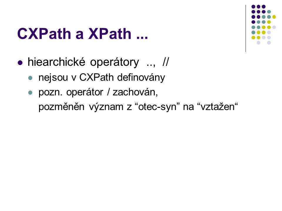 """CXPath a XPath... hiearchické operátory.., // nejsou v CXPath definovány pozn. operátor / zachován, pozměněn význam z """"otec-syn"""" na """"vztažen"""""""